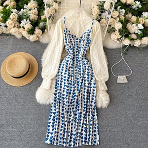 French style womens two piece dress set new spring turtleneck white lace shirt and spaghetti strap floral print midi dress suits