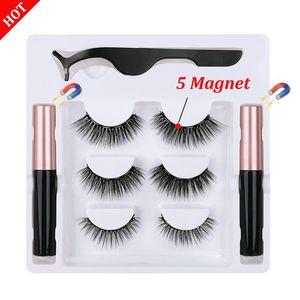 3d Magnetic Eyelashes and Eyeliner Set Natural Long In Bulk Wholesale 3Pairs Magnetic Eyeliner Magnetique Tweezer Kit Waterproof
