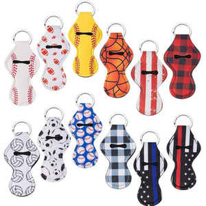 Designs Hot Neoprene Keychain Sports Printed Chapstick Holder Leopard Keychian Wrap Lipstick Holder Lip Cover Party Gift EEA43