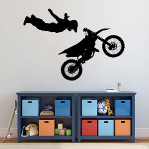 No Hand Motocross Air Stunt Tricks Wall Sticker Motorbike for Home And Motor Garage Decoration Removable A0025341