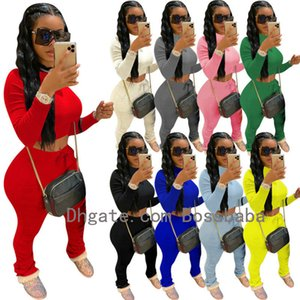 Donne Tracksuit Two Pieces Set Designer Abiti Designer Color Solid Color Manica Lunga Top Pantaloni impilati Maglioni Ladies Plus Size Casual Jogging Suits