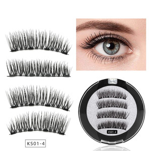 4Pcs Magnet Imported Fiber Lashes 100% Magnetic Eyelashes Natural Hair False Eye lashes 3D Fake Lash Fluffy Faux Cils magnetique