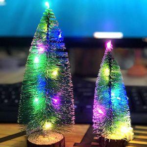 Luminous Christmas Tree With LED Lights Cedar Desktop Ornaments Small Window Display Christmas Decorations Free Shipping