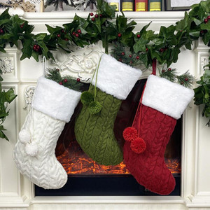 New Year Socks Xmas Tree Hanging Ornaments Knitted Christmas Stocking with Plush Ball Christmas Gift Bag Home Decoration