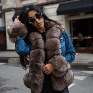 Tatyana Furclub 데님 겨울 여성 자연 여우 코트 두꺼운 따뜻한 파카 진짜 모피 재킷 Y201012
