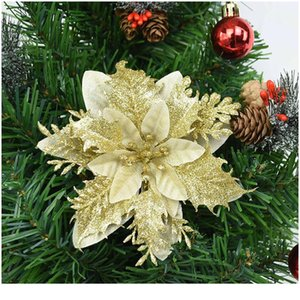5pcs Artificial Christmas Flower 14cm Faux Xmas Ornament For Christmas Tree Decorations Giltter Wedding Engagement Flow jllhDq