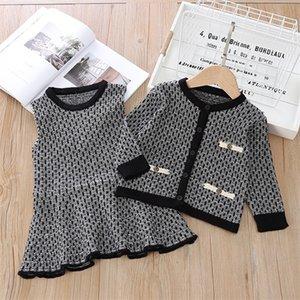 Gooporson Fall Kinderkleidung Mode koreanische Strickpullover Cardiganvest-Kleid Kleinkind Mädchen Kleidung Set Winter Warme Outfits C1211
