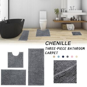3-Piece Bathroom Carpet Set Chenille Floor Mat Ultra Soft Washable Bathroom Dry Fast Non-Slip Absorbent Carpet