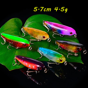 6 Color Mixed 5.7cm 4.5g 3D Eyes Pencil Hard Baits & Lures Fishing Hooks 10# Hook Pesca Fishing Tackle BL_275