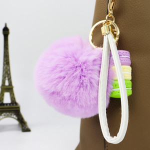 27 Styles Macaron Ice Cream Rabbit Fur Ball Keychain Pompom Key Chain Car Keyring Women Key Holder Bag Pendant PPD2914