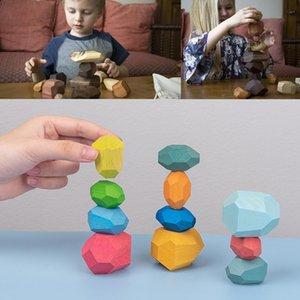 12pcs Montessori educativi Giocattoli di legno Legno Pietra Set di bilanciamento blocchi di legno naturale giocattolo Montessori gioca il regalo precoce educazione bbyKlw