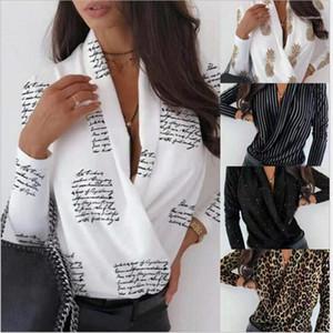 Shirts Letter Printed Womens Designer Shirts Casual Street Loose Long Sleeved V Neck Shirts Fashion Womens