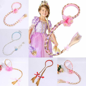 Baby Girls Princess Headband Braided Long Wigs Blond Hair Extensions Girls Blonde Tangled Rapunzel Hair Solid Wig