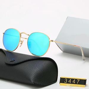 YXTJTJ Klasik Tasarım Marka Yuvarlak Güneş Gözlüğü UV400 Gözlük Metal Altın Çerçeve Yasak Gözlük Erkek Kadın Ayna Cam Lens Güneş Gözlüğü Kutusu EZT