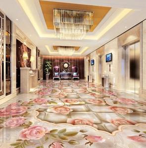 [Autoadesivo] 3D Floor Tile Flower 656569 Carta da parati Piano Murale Stampa murale Decalcomania Durals1