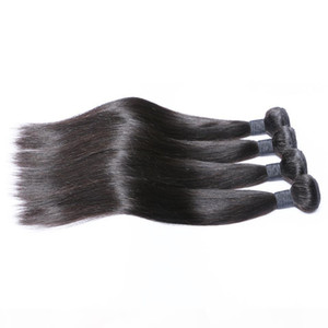 4 Bundles Raw Virgin Indian Hair Silky Straight Cheap Color 1B 10A Grade Brazilian Peruvian Malaysian Cambodian Human Hair Weave Bundles