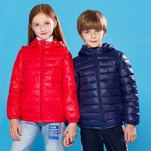 90% Duck Down Winter Down Jacket boy girl Child Kid Light Coat Hooded Thin Warm big boys Outerwears 2 4 6 8 10 12 14 16 Years F1201