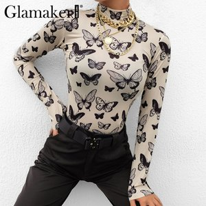Glamaker Butterfly print sexy white T-shirt women 2020 fashion summer tops Tee shirt streetwear vintage female knitted tops A1112