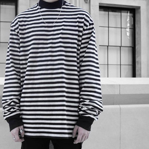 New FEAR OF GOD Striped Long Sleeve Mock Neck Tee FOG High Neck Long Sleeves T-Shirts Casual T Shirts Pullovers Hip Hop Streetwear