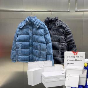 Parkas Women 2020 Winter Down Puffer Jackets Womens Fashion Hooded Coat Striped Letter Pattern Men Outerwear Loose Clothing
