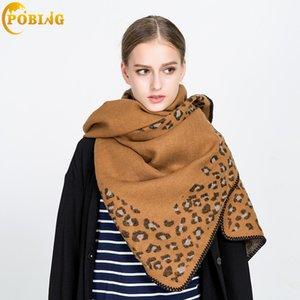 Pobing бренд зимние женщины леопардовые печати кашемировые шарфы мягкие обертывания базовый акриловый брат шаль женский буфандас одеяло шарф