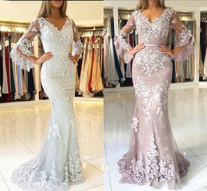 Lilac Vintage Long Sleeve Evening Dresses Tulle Mermaid Floor Length Lace Appliqued Prom Gowns V Neck Custom Made Sage Evening Gown