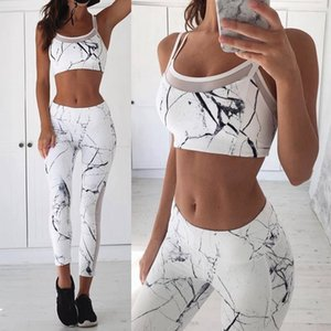 Tracksuits Women Active Marbling Pattern Sexy Yoga Suits Womens Running Outfits Two Piece Pants Fitness Sweatsuits Wholesale
