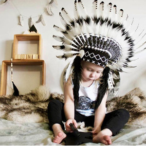 Child photographing cute Feather headdress handmade feather costumes bonnet hat room decor baby gift