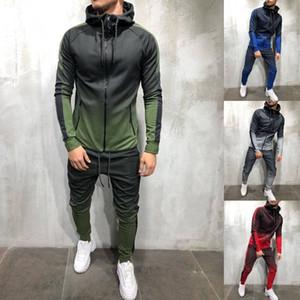ZOGAA MEN TRACKSUIT 2 Stück Set 3D Gradient Farbe Beiläufige Hoodies Sweatshirt und Hosen Sportswear Outfits Joggers Mens Sweatsuit 201109