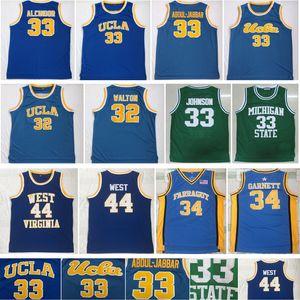 Kareem Abdul Jabbar Ucla Bruins Jersey Bill Walton Michigan Earrulço Johnson Jerry West Kevin Garnett Virginia NCAA Colégio Basketball Jerseys