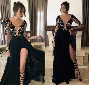 Long Sleeve Sheer Tulle Black Lace Evening Dresses 2017 Split Chiffon Sexy Prom Dress Party Gowns
