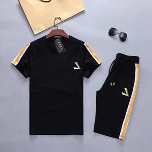 Mens ColorBlock Tracksuits 여름 스포츠 정장 캐주얼 짧은 소매 Tshirts 느슨한 반바지 Homme 2pcs 의류 세트