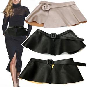 Cinturón de piel de imitación Cinturones de lujo para mujeres Cummerbunds Cinturón de cintura Corsé Cinturón para vestir Falda Cintura Hebilla negra