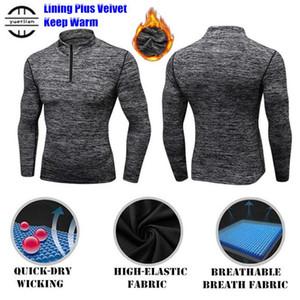 120p homens shapers mais fleece trainningexercise suéter 3d apertado elástico wicking esporte gym executando camisolas de colar de manga comprida