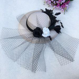 Hot Sale-Mingli Tengda Bridal Mesh Hat Feather Black And White Flower Hat Elegant Headdress Wedding Accessories Fascinator Fedora Cap