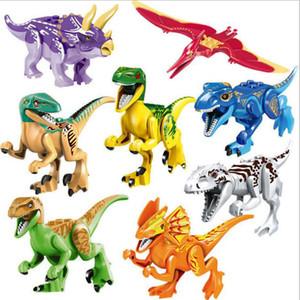 8pcs set Colorful Jurassic World Dinosaur Brutal Raptor Minifig Figures Army Compatible Building Blocks Mini Bricks Dino Car City Kid Toys