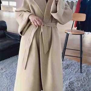 Women Designers Clothes 2020 Fashion Thicken Pure Color Add Long Suit Collar Cashmere Loose Type Lace-Up Long Sleeve Winter Woman's Coat