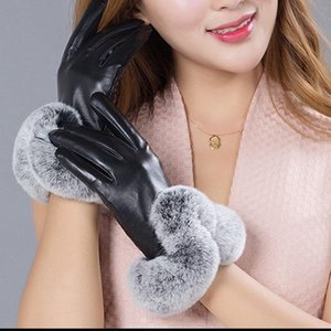 Wholesale-2020 Winter Warm Women Genuine Sheep Leather With Rex trimming Female Fashion Windproof Real Leather Gloves Ladies Warmer