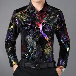 New Luxury Gold Velvet Men's Shirts Casual Print Long Sleeve Shirt Men Shiny Tuxedo Shirts camisa masculina