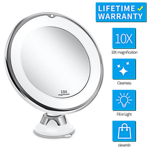 LED Light Makeup Mirror 10X Magnifying Vanity Mirrors with LED Portable Cosmetic Tools Suction Cup 360 Degrees Rotating Mirrors