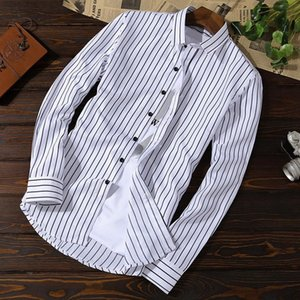 Plus Size M-5XL Shirts Men Business Casual Slim Fit Shirts Striped Thin Soft Dress Social Long Sleeve Men's
