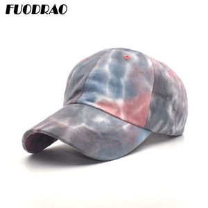 FUODRAO 2020 New Fashion Tie Dye Baseball Cap Women Ponytail Hats Cotton Hip Hop Hats Mesh Trucker Caps Sports Sun Hat B29 Y1130