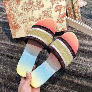 2021 mit box frauen sandalen stickerei floral brocade flip flops luxuriale müßiggänger gestreifter strand echtes leder blühen blumen pantoffeln