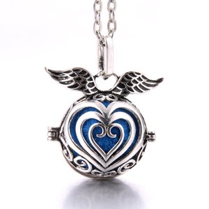 Angel Wings Heart Hollow Ball Cage Locket Pendants Essential Oil Aromatherapy Diffuser Statement Locket Cage Necklace