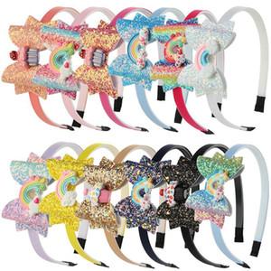 Bebé arco iris unicornio diadema de lentejuelas fruta bowknot cabello palitos de dibujos animados niños niñas brillo arco diadema para niños accesorios para el cabello