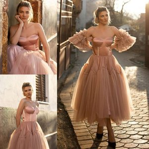 Stylish A Line Short Prom Dresses Strapless Neck Pleated Party Gowns With Detachable Sleeves Ankle Length Tulle Homecoming Dress