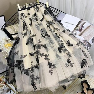 2020 New Summer Mesh A Line Elastic High Waist Tulle Pleated Skirts Ladies Chic Butterfly Embroidery Layered Fairy Skirts Z85