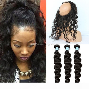 Brazilian Elastic Band Lace Frontal Closure With Bundles Cheap 8A Grade 360 Lace Band Frontal Cloure With Loose Wave Human Hair Weaves