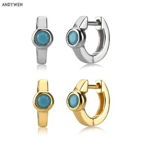 Kikichicc 925 Sterling Silver 7.5mm Turquoise Huggies Women Luxury Hoops Piercing Ohrringe 2020 Fashion Rock Punk Jewelry