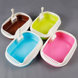 Cat Sand Pot Pet Small Toilet with Shovel Anti-leakage Flexible Side Cover Easy Cleaning Kitty Litter Box Supplies new